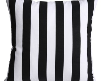 Beverly Hills Black & White Striped Decorative Pillow Cover 18x18 20x20 24x24 26x26 12x21 26x26 white stripe California Pillow-5QIE