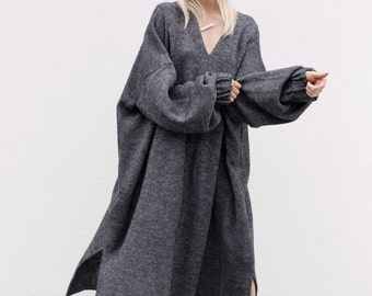 women's dresses | dress | oversize dress | tunic dress | minimalist dress | gray dress | wool dress | designer dress | oversized dresses
