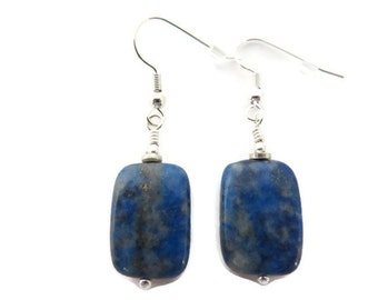 Lapis Lazuli Earrings, Navy Blue Earring, Royal Blue Earring, Blue Stone Earring, Blue Dangle, Blue Lapis Earring, Blue Gemstone Earring
