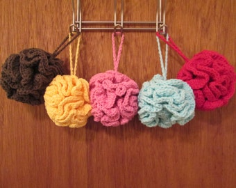 Solid Color Crochet Cotton Loofah; Shower poof; Shower cloth