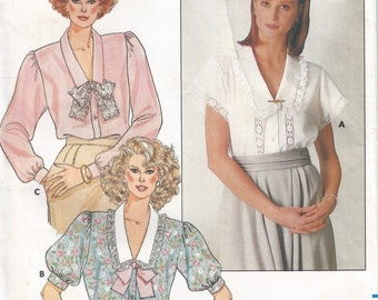 1986 Misses Blouse Pattern, Butterick 3702, Size 8-10-12