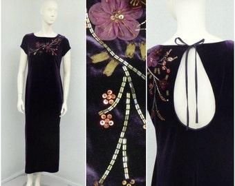 Vintage 90s Dark Purple Velvet Dress, Eggplant Maxi Dress, Bodycon Dress, Keyhole Back Dress, Long Formal Dress, Beaded 3D Flower Dress