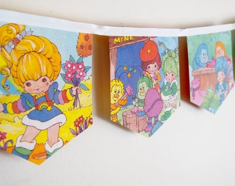 Rainbow Brite- Little golden book bunting- vintage