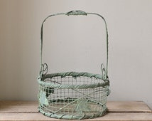Vintage Country Green Wire Basket with Handle