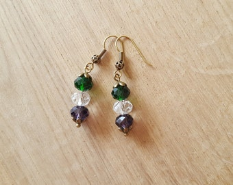 Suffragette Inspired antique gold Earrings