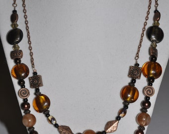 Copper Necklace Double Strand Amber Brown #499