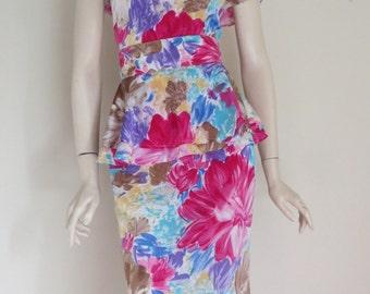 Vintage 80s Tropical Floral Peplum  Dress / Retro  / Medium Large