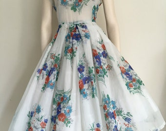 FOR RESCUE/CLEARANCE Sheer Floral Party Dress / Full Skirt / Small Medium