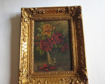 antique original oil painting, roses signed by Reeves