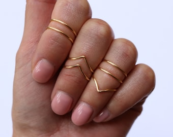 Midi Rings  Boho Chic Jewelry Above Knuckle Ring Set  Stacking Bohemian Gold Silver Rings  Minimalistic Jewelry  Simple Wire Wrap Ring