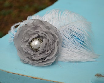 Bridal Fascinator - A Chiffon Hair Clip With Feather Accents - The Macy Feather Wedding Fascinator