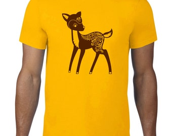 Whimsical Deer TShirt, Cute Deer T Shirt, Cute Animal TShirt, Forest Animal T Shirt, Deer Tee, Ringspun Cotton, Mens Plus Size
