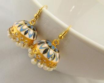 Small Meenakari Hand Crafted  Jhumka  Dangle Earrings - Pearls