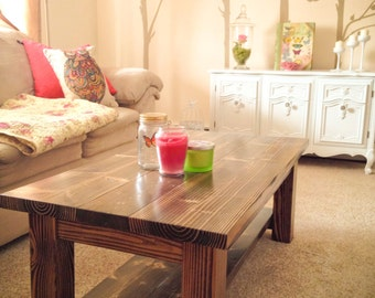 Solid Wood Farmhouse End Table Rustic End Table Coffee