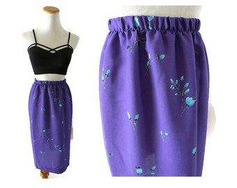 SALE Purple Floral Skirt 80s Skirt Midi Elastic High Waisted Leslie Fay Summer Hipster Indie Size Medium