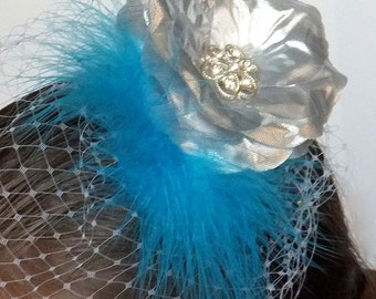 "Silver Textured Silk Rose Petal Flower and Aqua Blue ""Marabou"" Feather Hair Clip Fascinator"