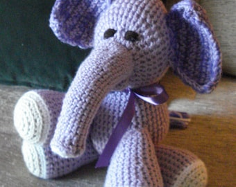 "Crocheted elephant stuffed animal doll toy ""Elmo"""