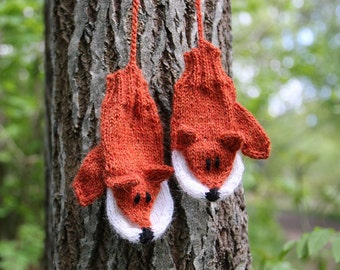 Fox Mittens for kids and adults knitting pattern PDF download, photographer mittens, DIY holiday gift