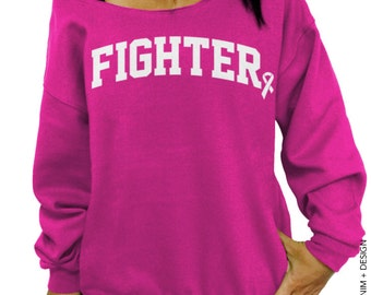 Fighter - Breast Cancer Fighter - Slouchy Sweatshirt - Cancer Survivor Shirt, Breast Cancer Awareness, Pink Ribbon shirt, Pink Sweatshirt