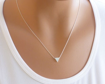 Silver Triangle Necklace, Silver Necklace, Geometric Necklace, Layering Necklace, Everyday Necklace, Simple Necklace