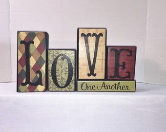 Wood Block Home Decor -- LOVE ONE ANOTHER - Home Decor -- Red, Moss Green, Tan