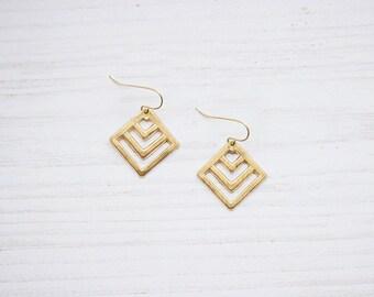Geometric Chevron Brass Earrings