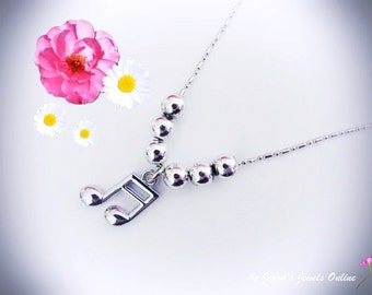 Music Note Necklace, Semi Quavers, Music Note, SIlver beaded Necklace, Music Jewellery, ,