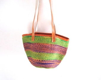 The Zahari Tote - Hand Woven Sisal Shoulder Bag with Double Handles - Multi-color Purple, Green, & Orange