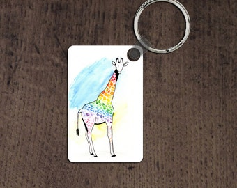 LGBT giraffe key chain