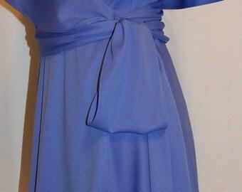 1980s Roaman's wrap dress periwinkle blue flutter sleeve cape cut back