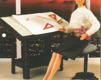 BARBIE'S AT The OFFICE, Plastic Canvas Drafting Table Pattern Leaflet