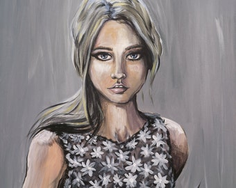Young Woman. Female Portrait. Giclee Print. Original Acrylic Painting. Fierce Eyes. Blue Eyes. Custom Size.