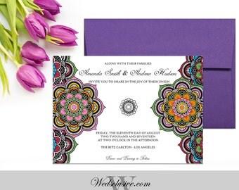 Mandala Coloring Wedding Invitations, Adult Coloring, Unique Wedding Invites - Mandala- DEPOSIT