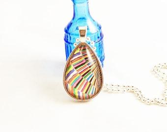 Multi-Color Slant Stripe Teardrop Glass Pendant Necklace