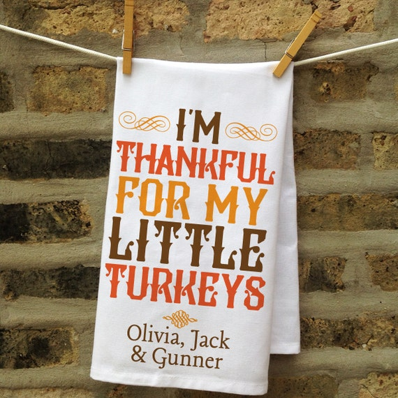 Thanksgiving Decor, Custom Thanksgiving Gift, Personalized Kitchen Towel, Family Gift, Personalized Tea Towel, Thanksgiving Turkey Tea Towel