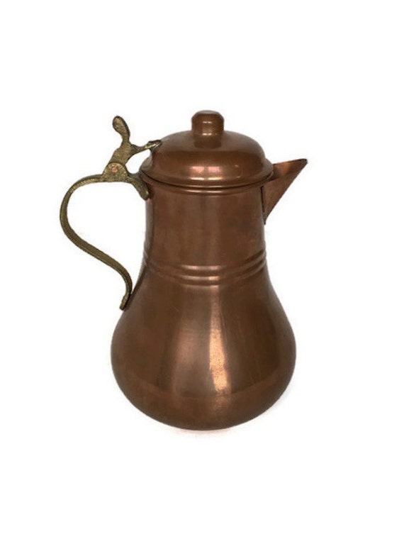 Vintage copper teapot hinged lid tea kettle brass handle farmhouse decor