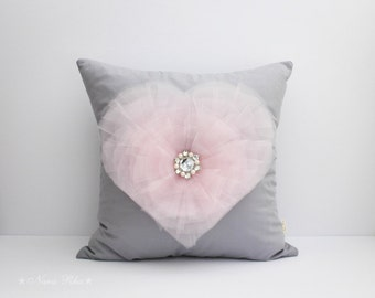 Pillows, Nursery Pillow, Pillow Cover, Pink and Grey Pillow, Heart Pillow, Love Pillow, Valentine Day Pillow, Nursery Decor, Pink Heart