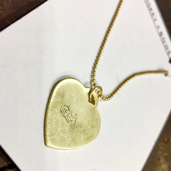 Babes Ride Out / Necklace for Paige / Motorcycle heart necklace / Motorcycle Necklace / Gold Heart Necklace / Motorcycle