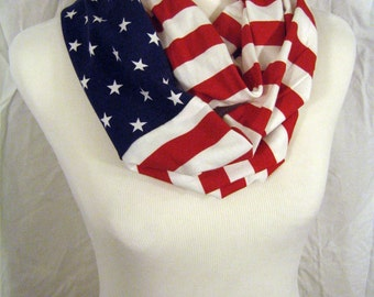 Patriotic American Flag Scarf - Red White Blue stars stripes MEDIUM Adult Youth Teen Jersey Knit Infinity Scarf - Memorial Day 4th of July