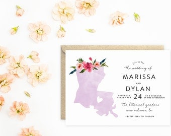 Louisiana Wedding Invitations, State Wedding Invitations, Watercolor with Flowers
