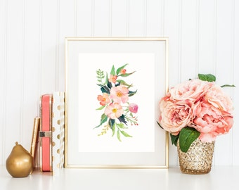 Flower Art Print, Watercolor Flower Bouquet in Pink and Peach