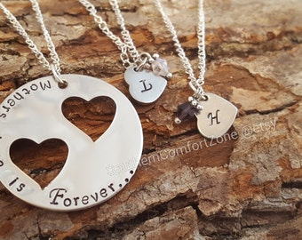 Mothers Love Is Forever - Mother Daughter Jewelry Necklace - Mothers Day Birthday Gift - I Love My Kids - Proud Mom - Personalized - Stamped