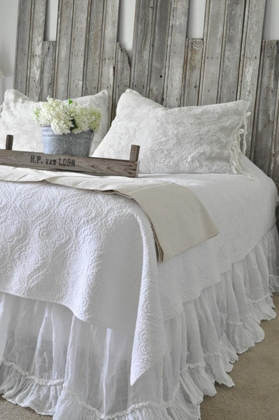 king size ruffled sheer linen white bed skirt by thenewhome1. Black Bedroom Furniture Sets. Home Design Ideas