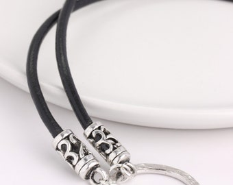 Black Lanyard Leather Bohemian Flair, Eyeglass Loop, Glasses Necklace with Ring, Eyeglass Holder, Black Cord for Glasses, Sunglass Chain