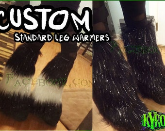 Custom Sparkly Fur Leg Warmers / Fluffies Rave Boot covers Up to 5 colors READ DESCRIPTION
