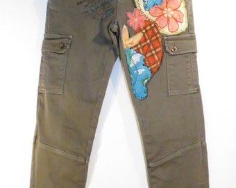 women's cargo pants, khaki green, olive green, Khaki, pants women, decorated, flowers, floral, recycled fabric, embroidered, upcycled p3