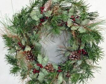 Christmas Wreath, Winter Wreath, Holly Wreath, Holiday Wreath, Pine Wreath, Woodland Wreath, Green Wreath, Holiday Door Decor, Holly