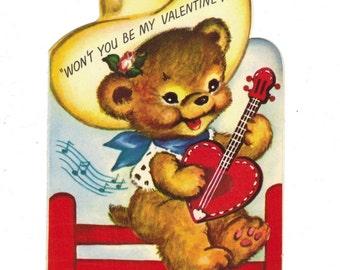 Vintage Valentine Teddy Bear Cowboy Plays Heart Shaped Guitar Rust Craft 1950s Marjorie Cooper Die Cut Colorful