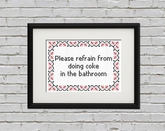 No coke in the bathroom cross stitch PDF pattern