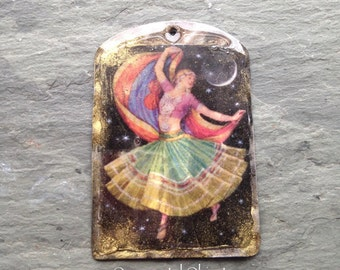 Colorful Dancing Girl Pendant-Vintage Style Resin Pendant, dancing. gypsy style, moonlight amber, gold, charm
